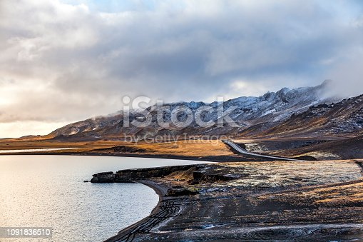 lonely lakeside road at lake kleifarvatn in southern iceland.