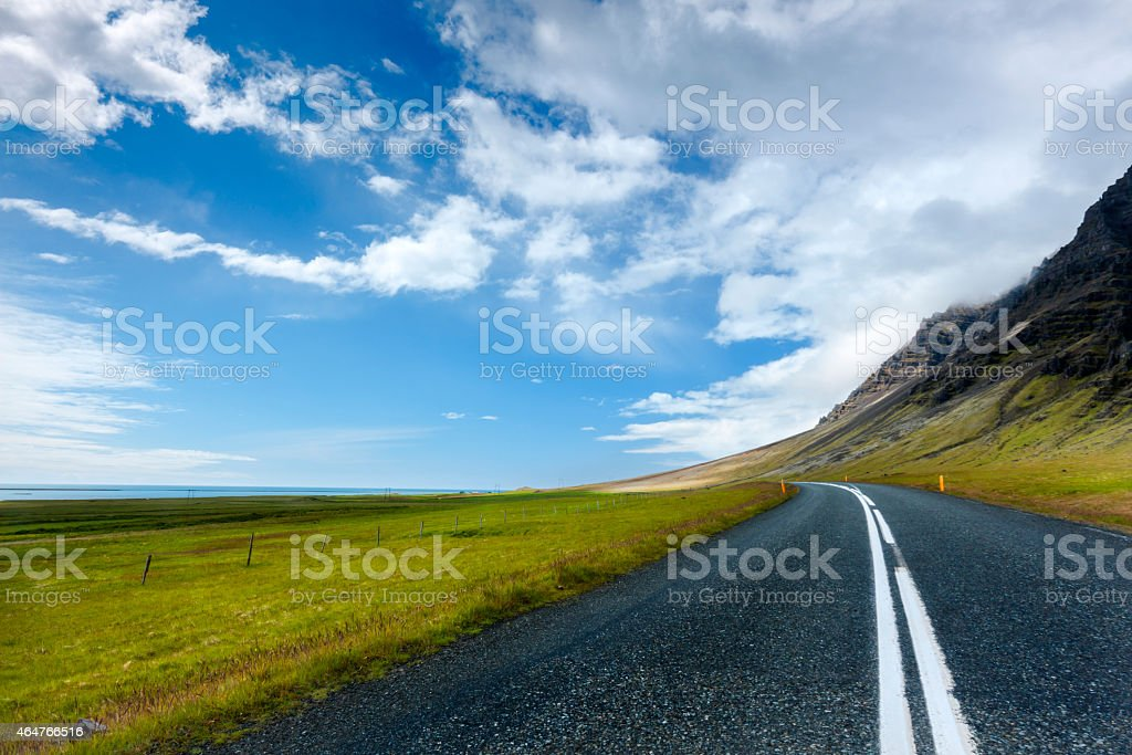 Lakeside road stock photo