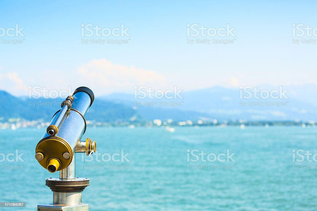 Lakeside telescope stock photo