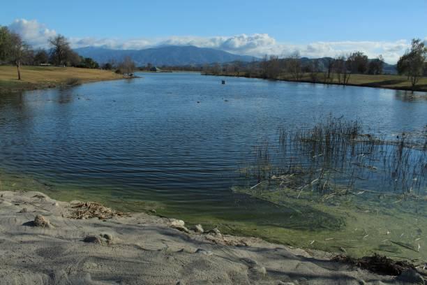 lakeside view in prado regional park, chino, california - collina foto e immagini stock