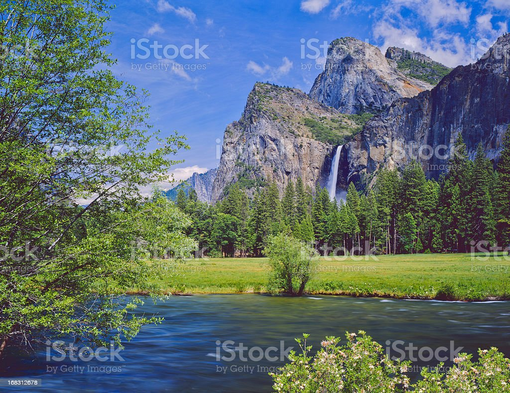 Lakeside view of Yosemite National Park in California, USA stock photo