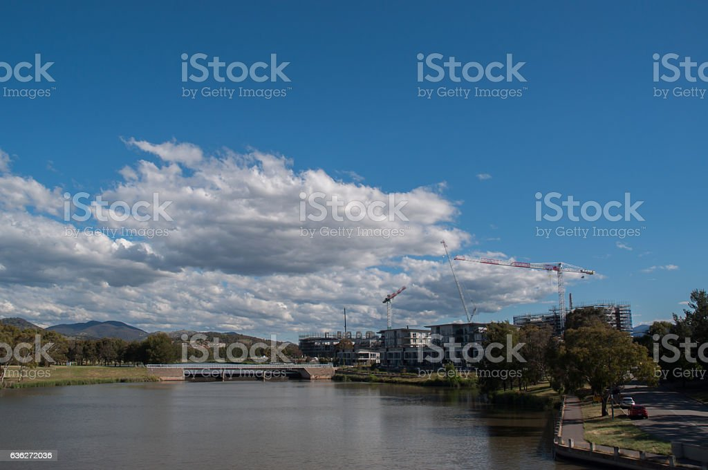 Lakeside View - Town stock photo