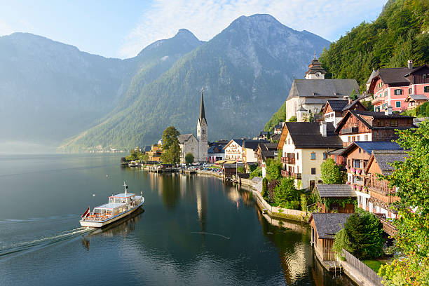 Lakeside Village of Hallstatt in Austria stock photo