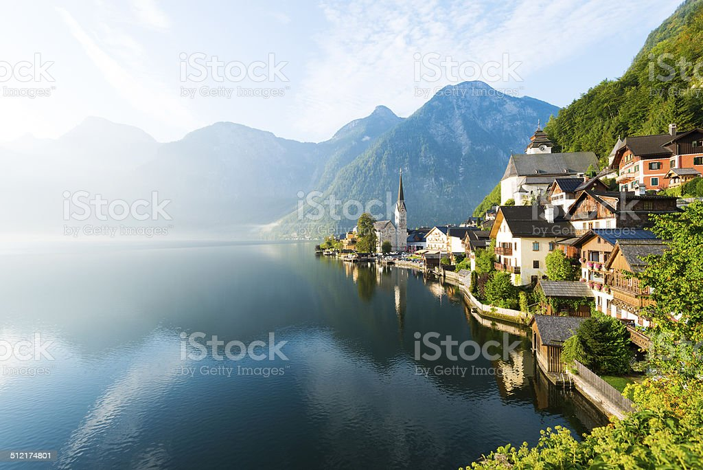 Lakeside Village of Hallstatt in Austria stock photo