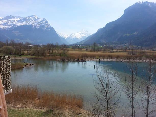 Lakeview in Uri, Switzerland stock photo