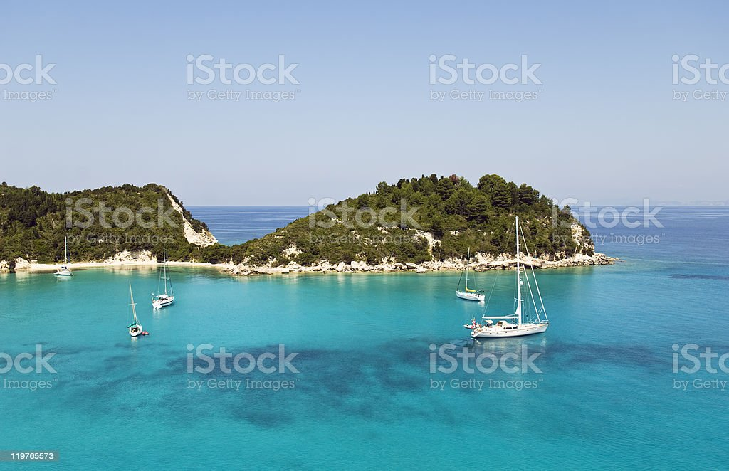 Lakka harbour Greece royalty-free stock photo