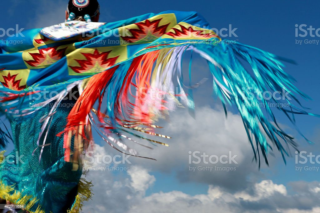 Lakota red Indian dancing stock photo