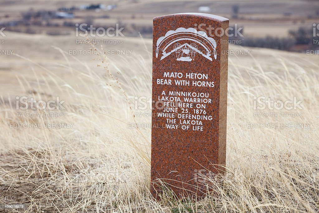 Lakota Warrior Death Markers at Little Bighorn Battlefield Monument stock photo