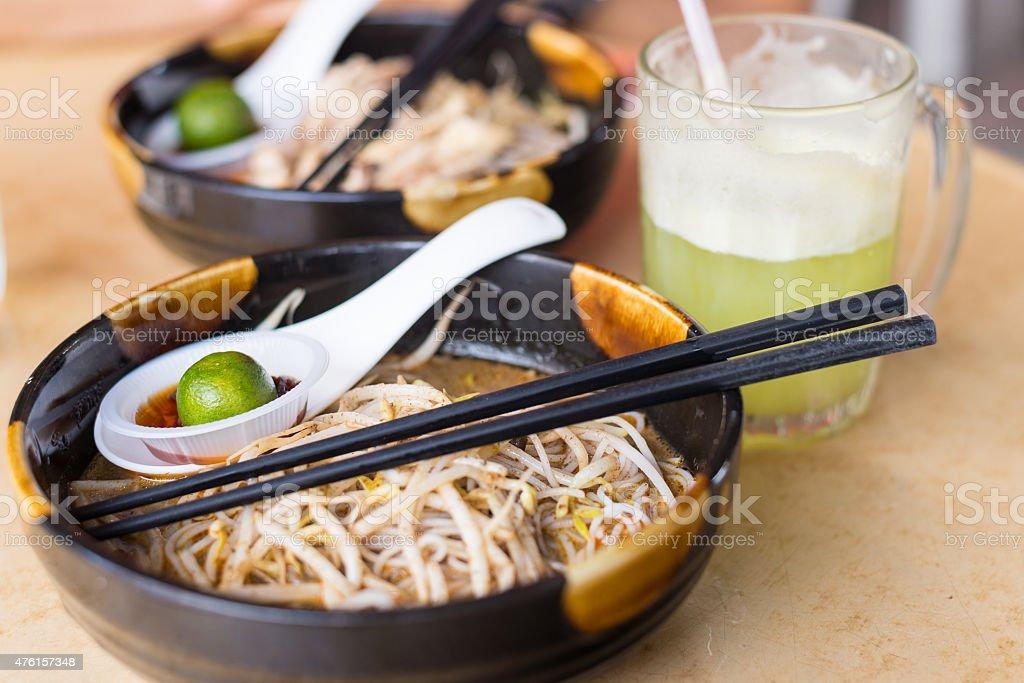 Laksa, traditional food in Kuching, Borneo stock photo