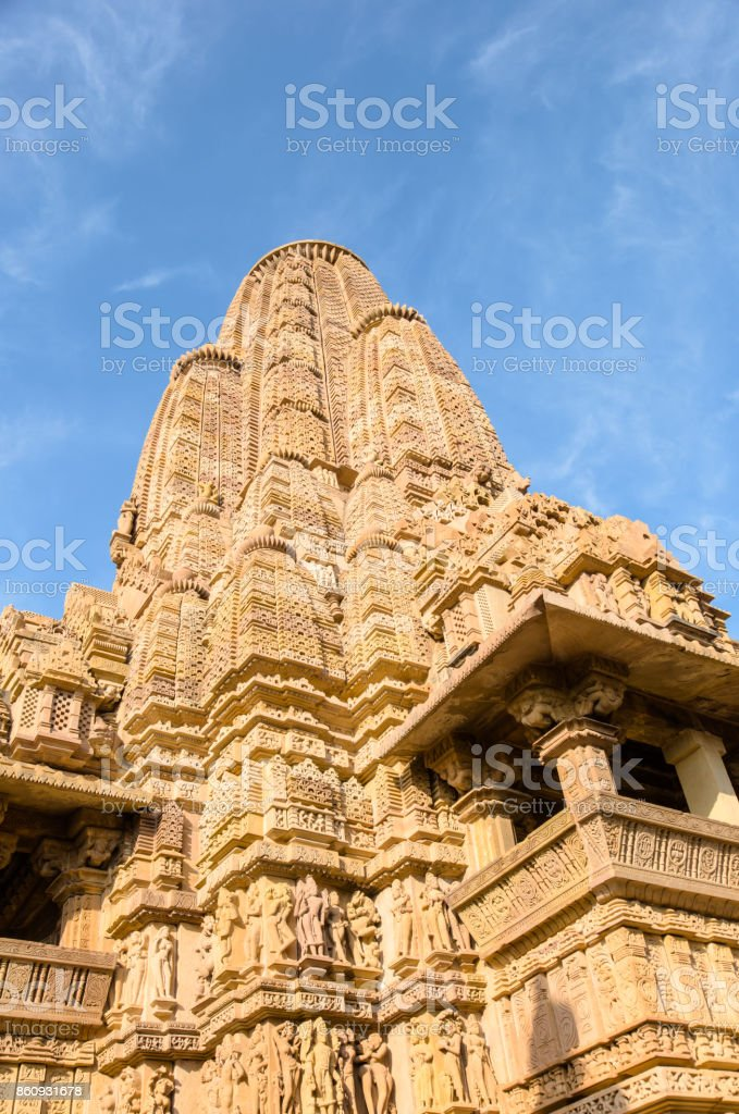Lakshman Temple in the Kharjuraho Western Group of Temples on a Sunny Day stock photo