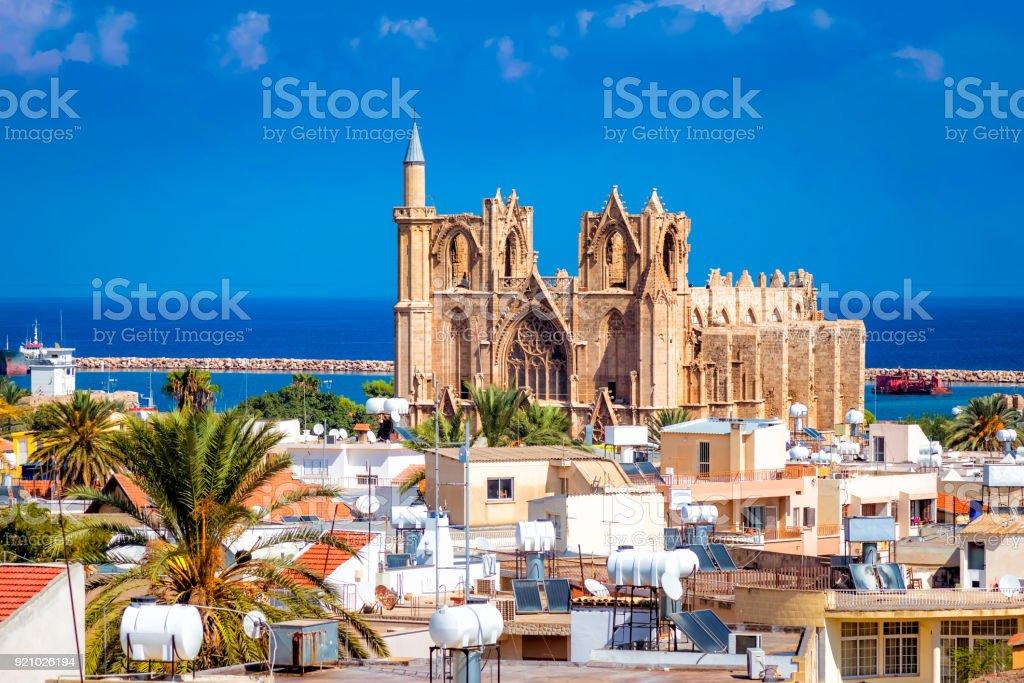 Lala Mustafa Pasha Mosque and Famagusta town. Famagusta, Cyprus stock photo