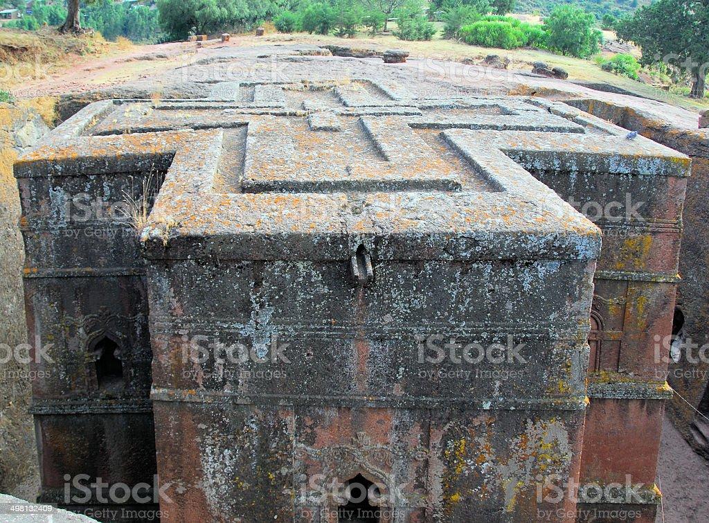 Lalibela, Ethiopia: cross shaped Church of Saint George royalty-free stock photo