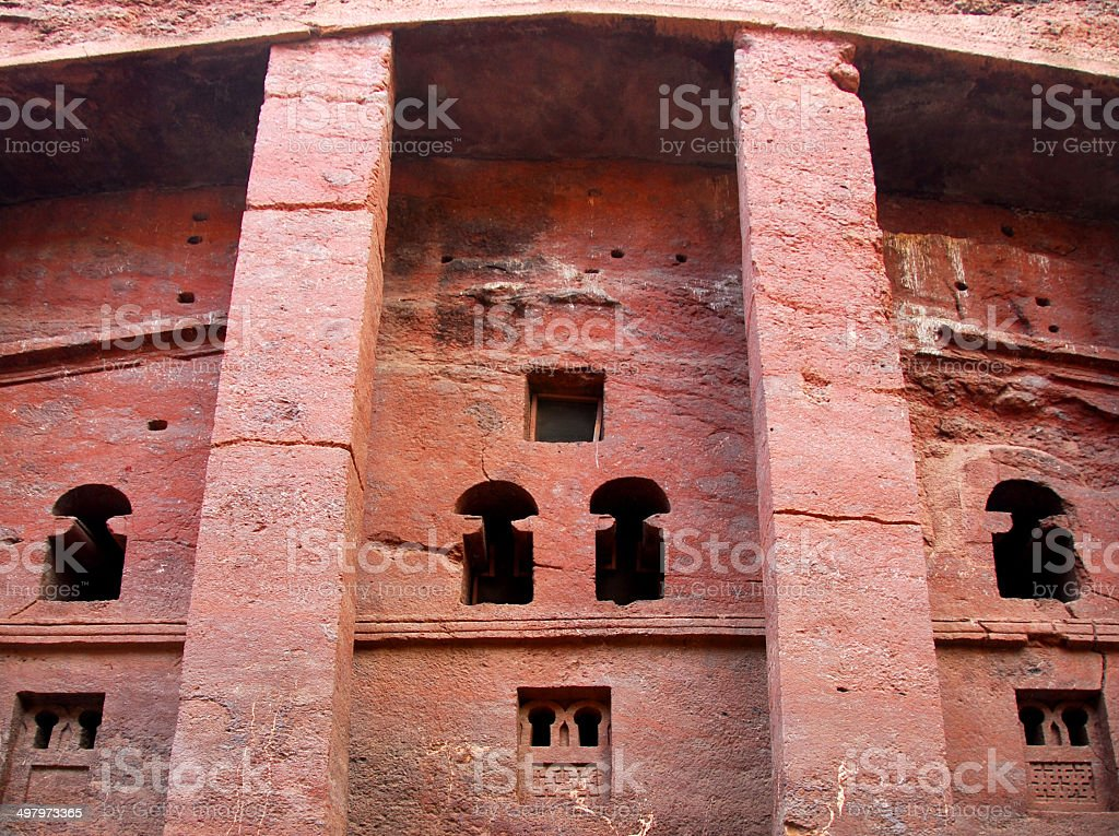 Lalibela, Ethiopia: rock-hewn church, Bete Medhane Alem stock photo