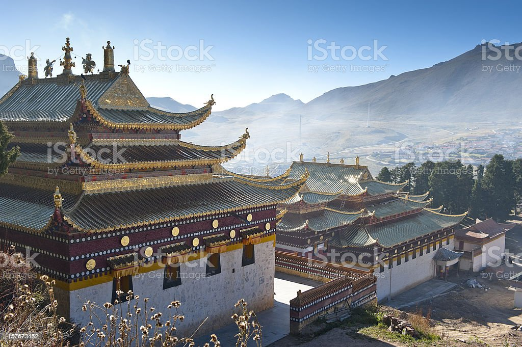 Lama temple in Beijing, China on a misty morning stock photo