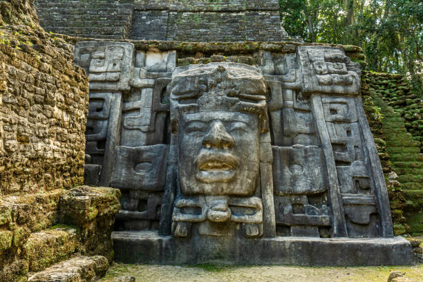 Lamanai archaeological reserve mayan Mast Temple in Belize stock photo
