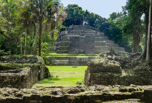 Lamanai Temple in Belize stock photo