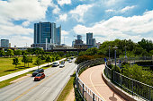 Austin, Texas USA - April 14, 2016: Busy Cesar Chavez Street viewed from the Lamar Pedestrian Bridge in the downtown area.