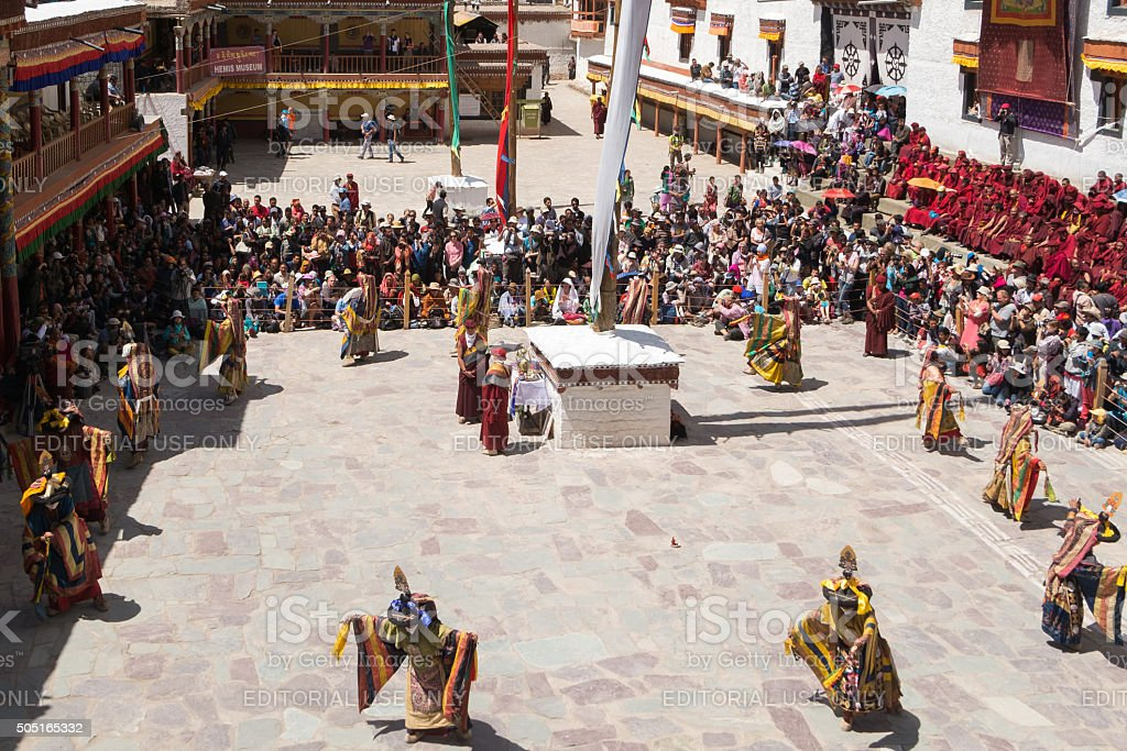 Lamas perform mask dances in Hemis Festival 2014. stock photo