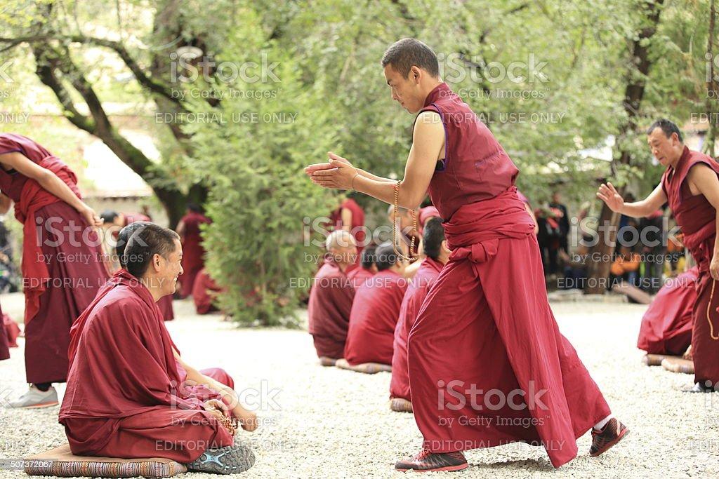 Lamas with the sera monastery debating on sutras stock photo