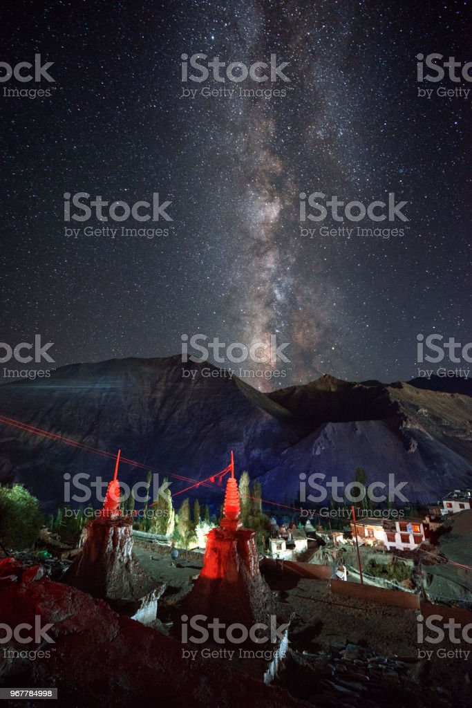 Lamayuru monastery  Milky Way stock photo