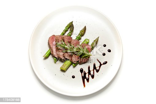Filet of Lamb sliced on a bed of Asparagus with Balsamic Vinegar decoration