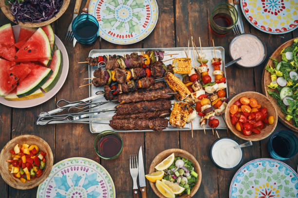 Lamb and Beef Kebab with Vegetable and Green Salad stock photo