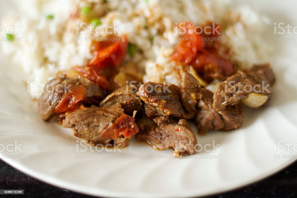 Lamb and Rice stock photo