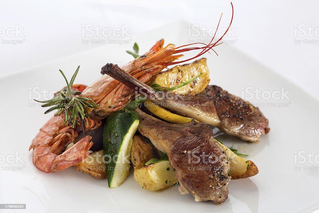 Lamb and Shrimp Dinner royalty-free stock photo