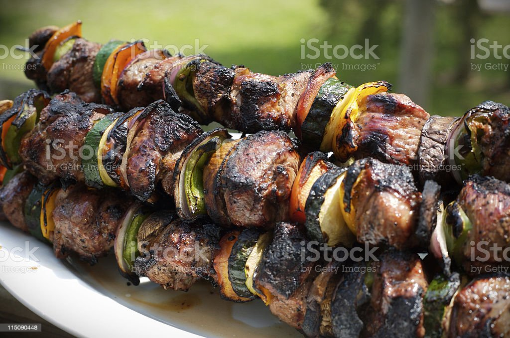 lamb and vegetable kabobs  royalty-free stock photo