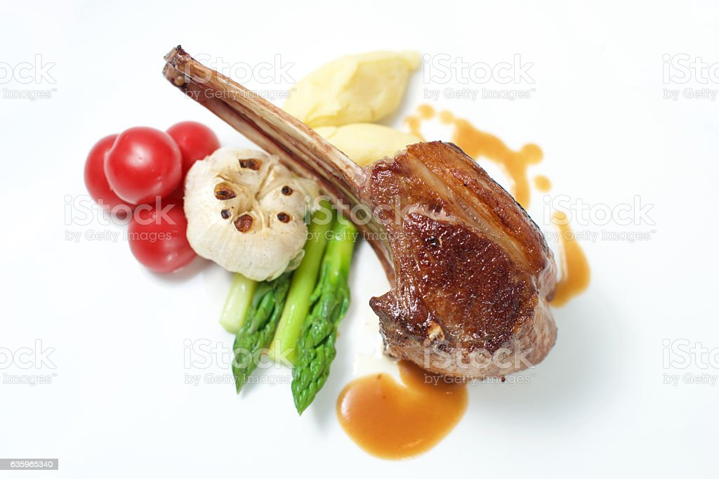 Lamb chop dish stock photo