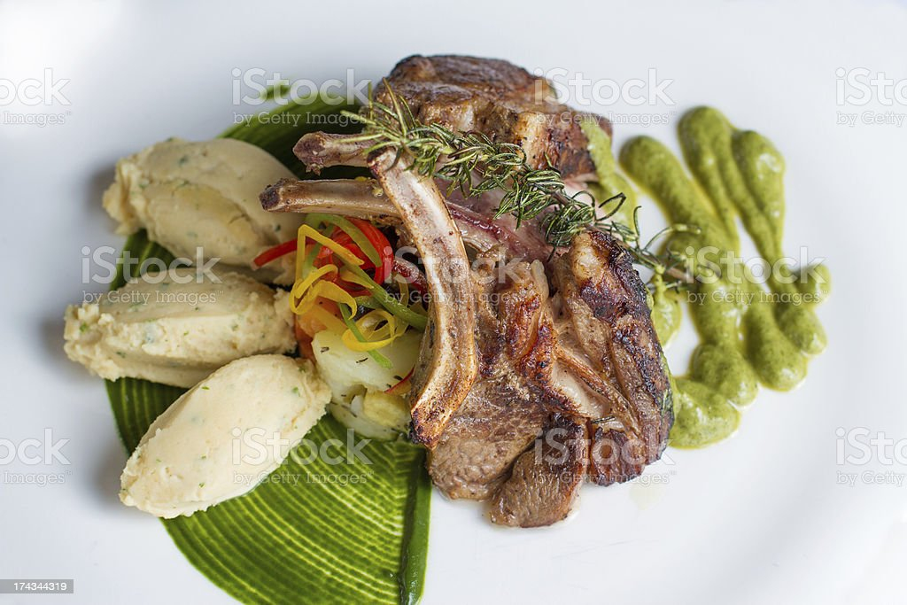lamb chop with Mashed Potatoes royalty-free stock photo