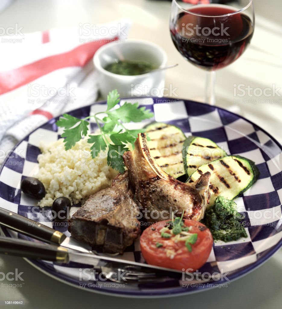 Lamb Chops and Grilled Vegetables with Glass of Wine royalty-free stock photo