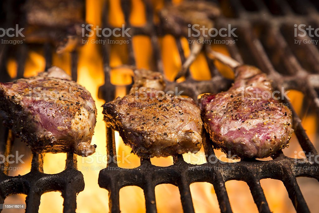 Lamb Chops on a Grill royalty-free stock photo