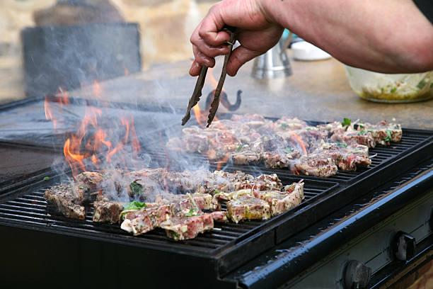 Lamb chops on the bbq stock photo