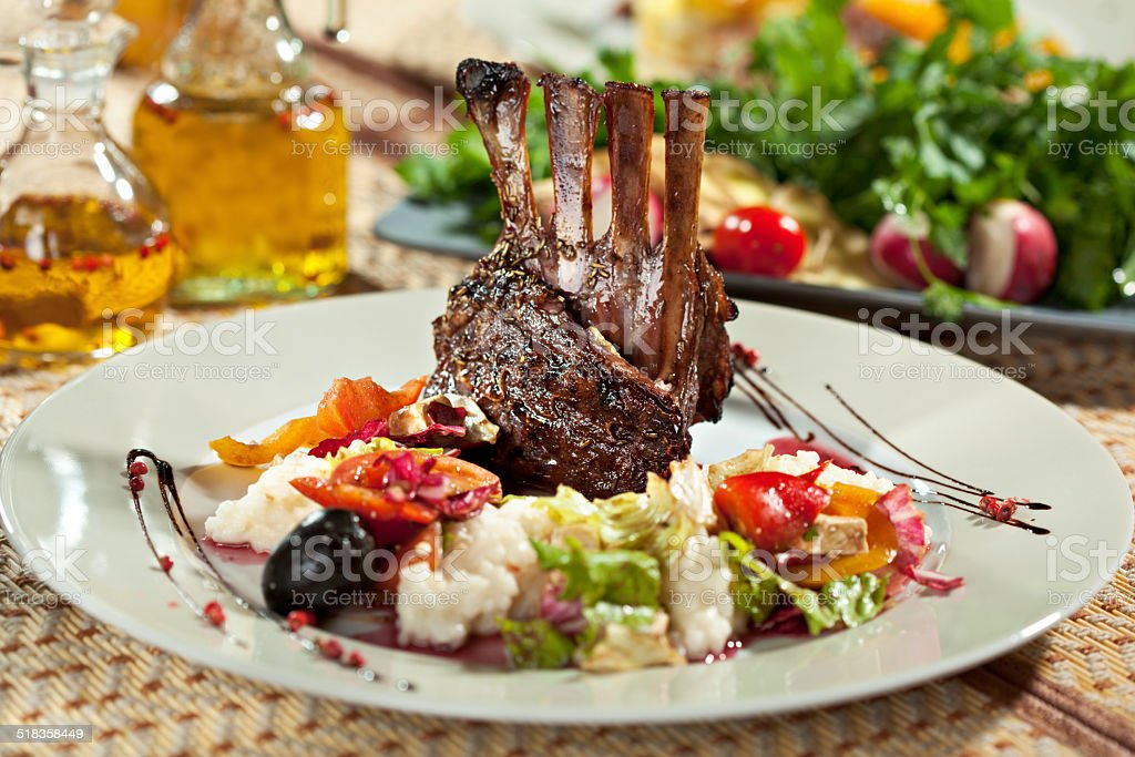 Lamb Chops with Risotto stock photo