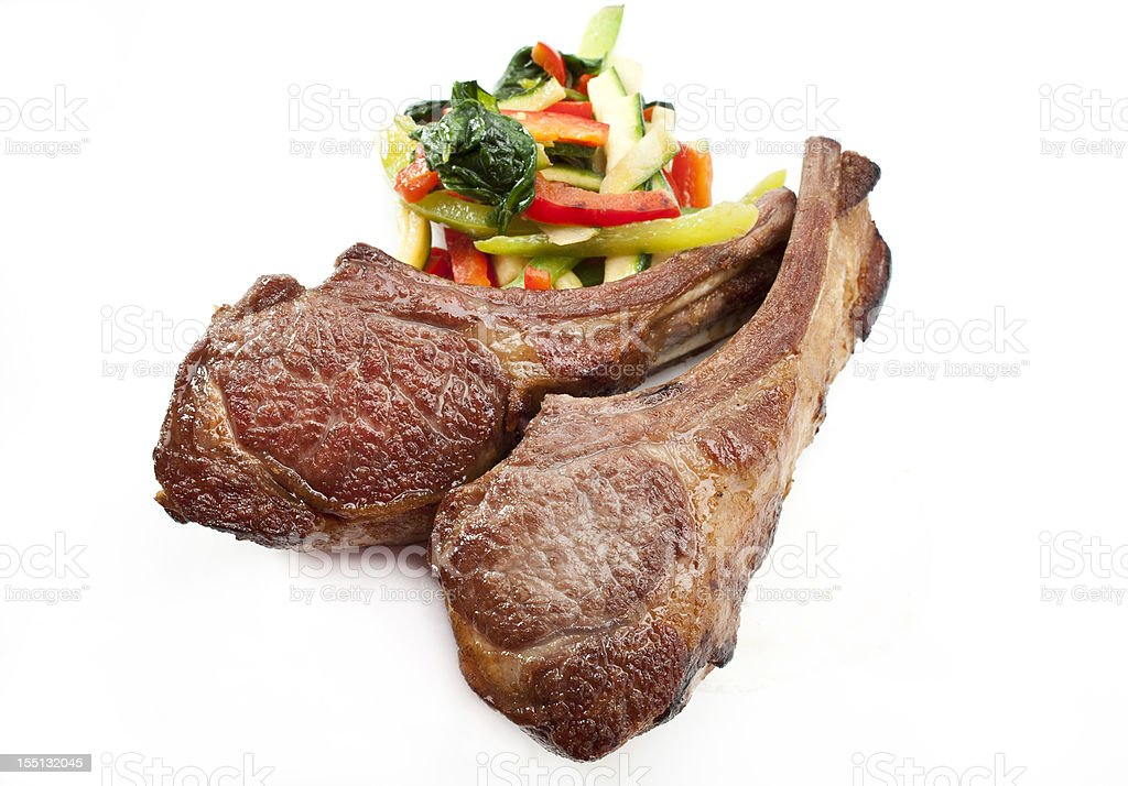 Lamb chops with vegetables royalty-free stock photo