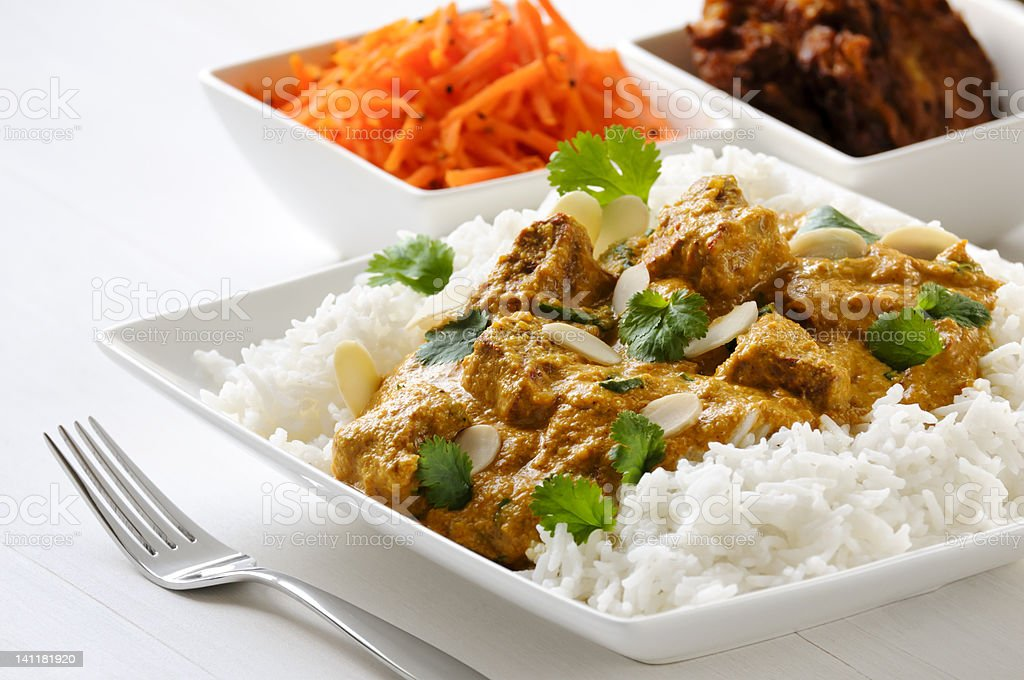 Lamb curry with rice royalty-free stock photo