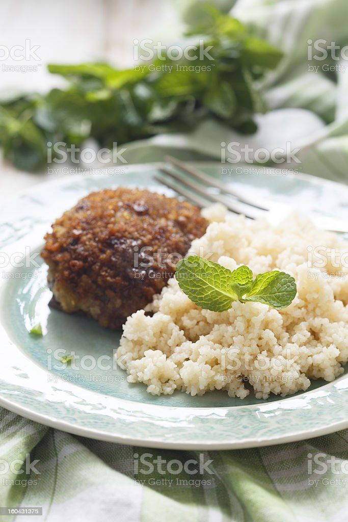 Lamb cutlets with couscous royalty-free stock photo
