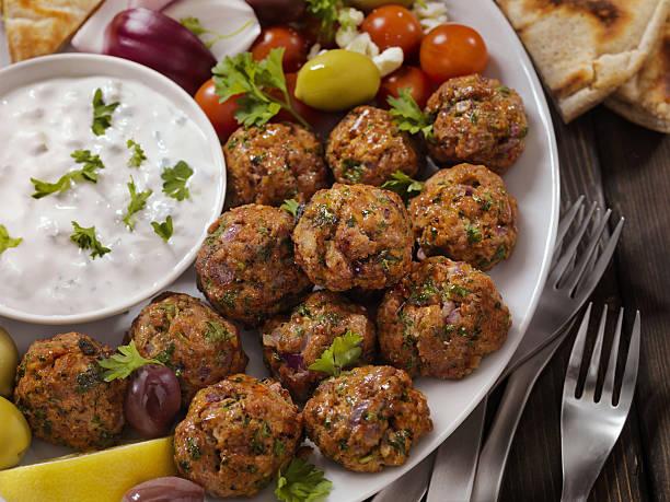 100% Lamb -Greek Meatball Platter - foto de acervo