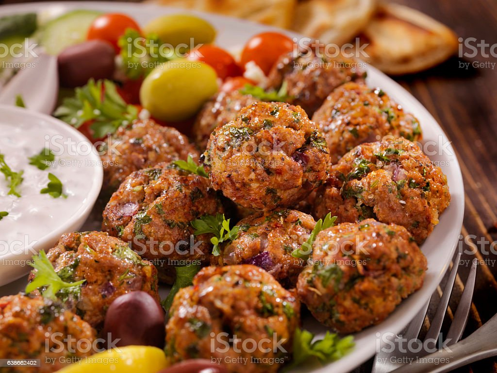 100% Lamb -Greek Meatball Platter stock photo