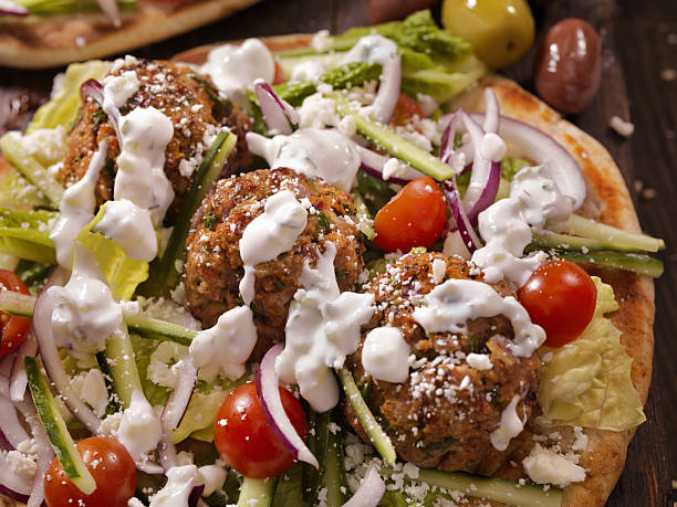 100% lamb -greek meatball souvlaki wrap - mediterranean food imagens e fotografias de stock