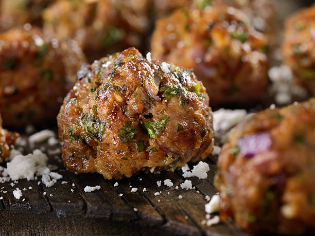 100% Lamb -Greek Meatballs 100% Lamb -Greek Meatballs- Photographed on Hasselblad H3D2-39mb Camera meatball stock pictures, royalty-free photos & images