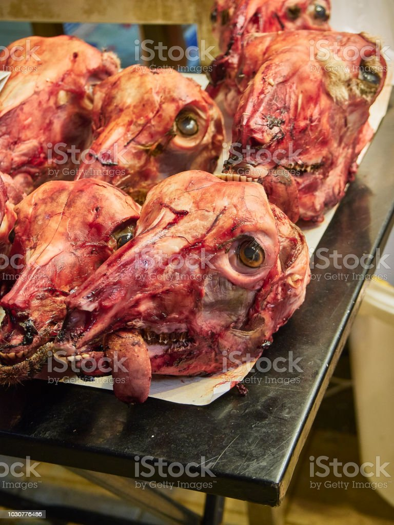 Lamb Heads In A Butchery Of Varvakios Market Athens Greece Stock