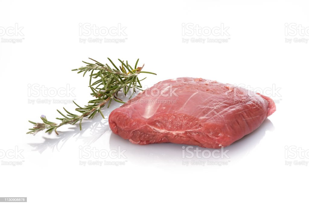 Lamb Meat Raw With Rosemary White Isolated Stock Photo