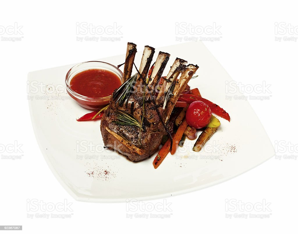 lamb meat with garnish (for cut out) royalty-free stock photo