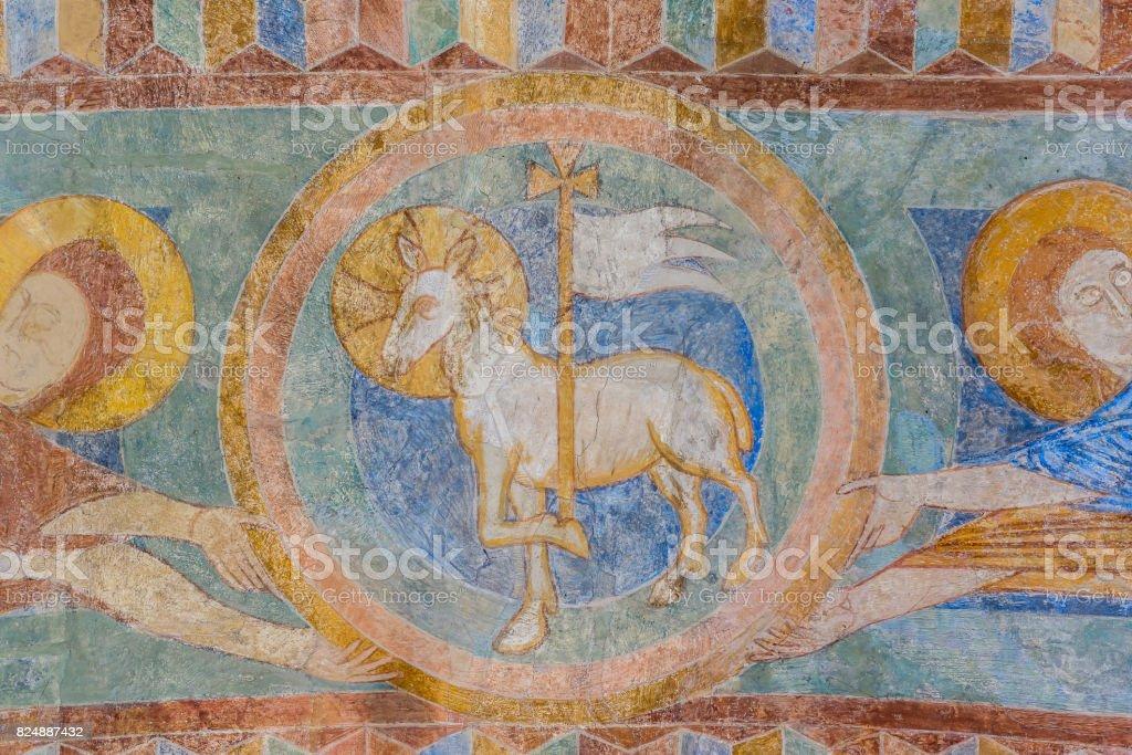 Cordeiro de Deus, um afresco medieval pintura - foto de acervo