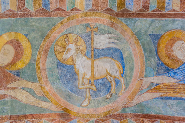 Lamb of God, a medieval fresco painting stock photo