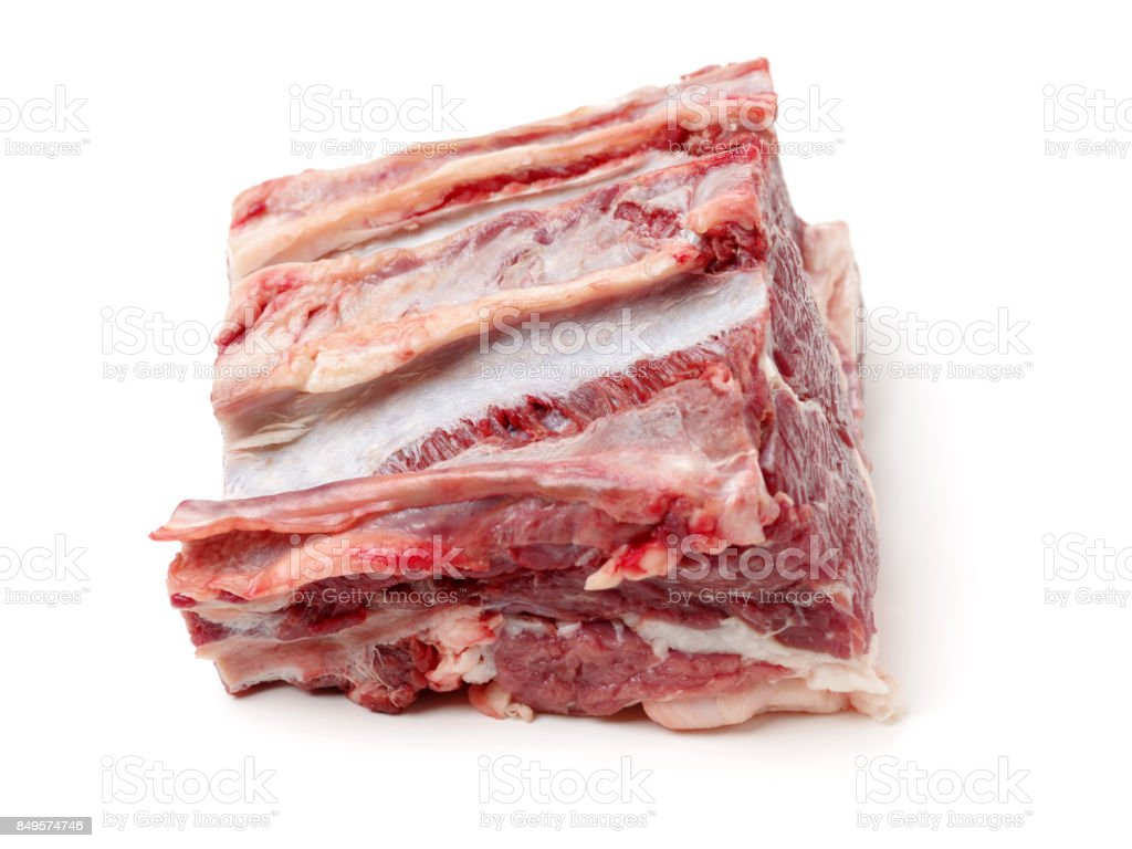 Lamb Rib Isolated on White Background stock photo