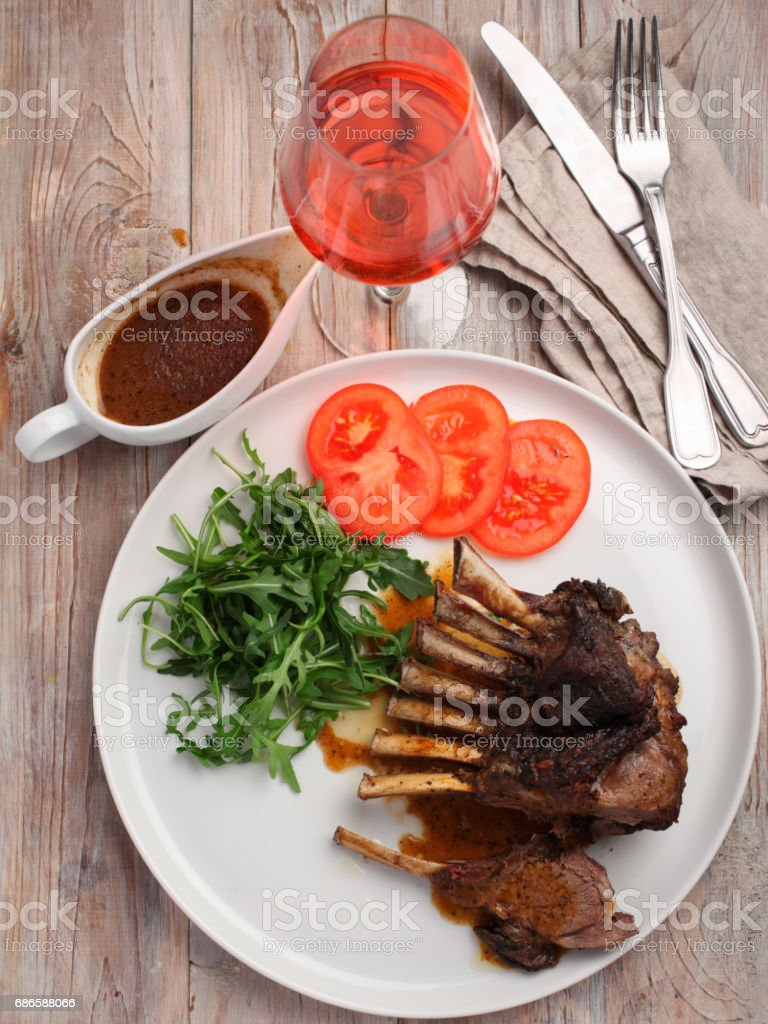Lamb ribs with vegetables royalty-free stock photo