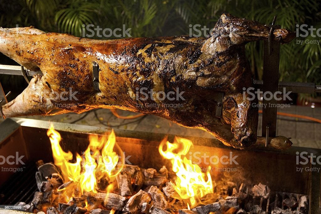 Lamb Roast on a Spit stock photo